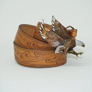 Vintage 70s Eagle Buckle Tooled Leather Belt